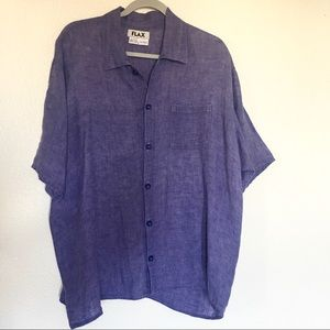 Flax Purple Linen Button Down Top